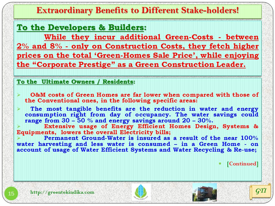 Extraordinary Benefits to Different Stake-holders!