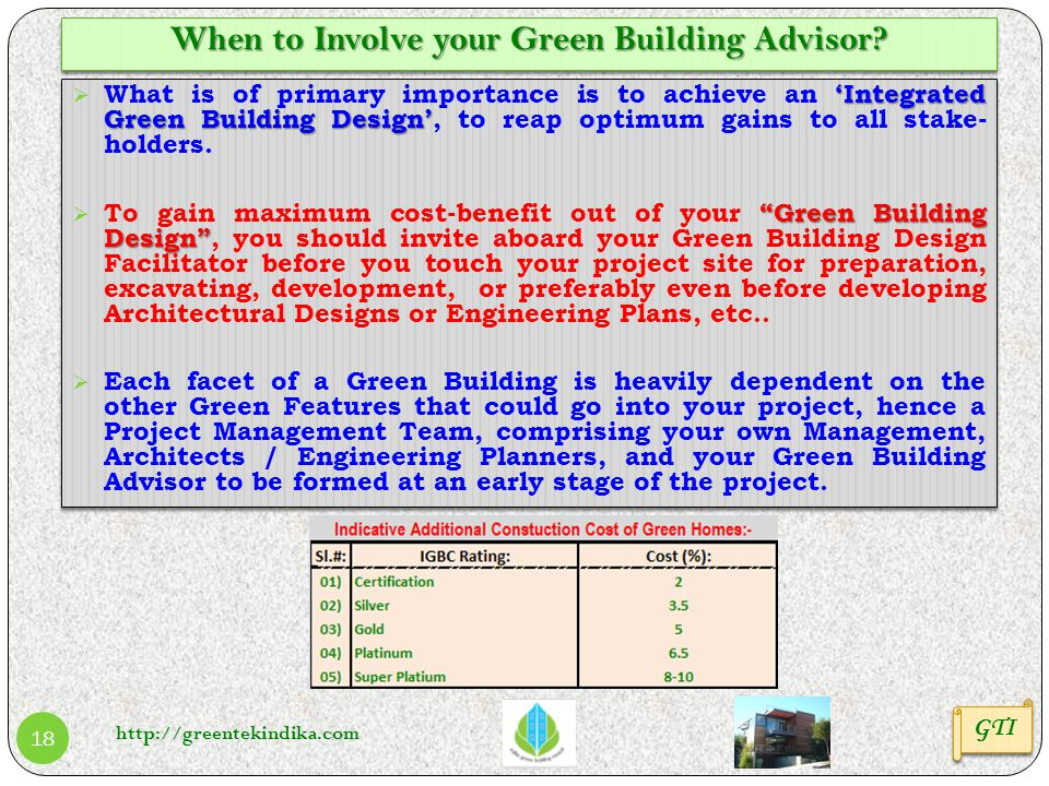 When to Involve your Green Building Advisor