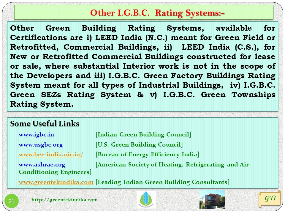 Other I.G.B.C. Rating Systems:-