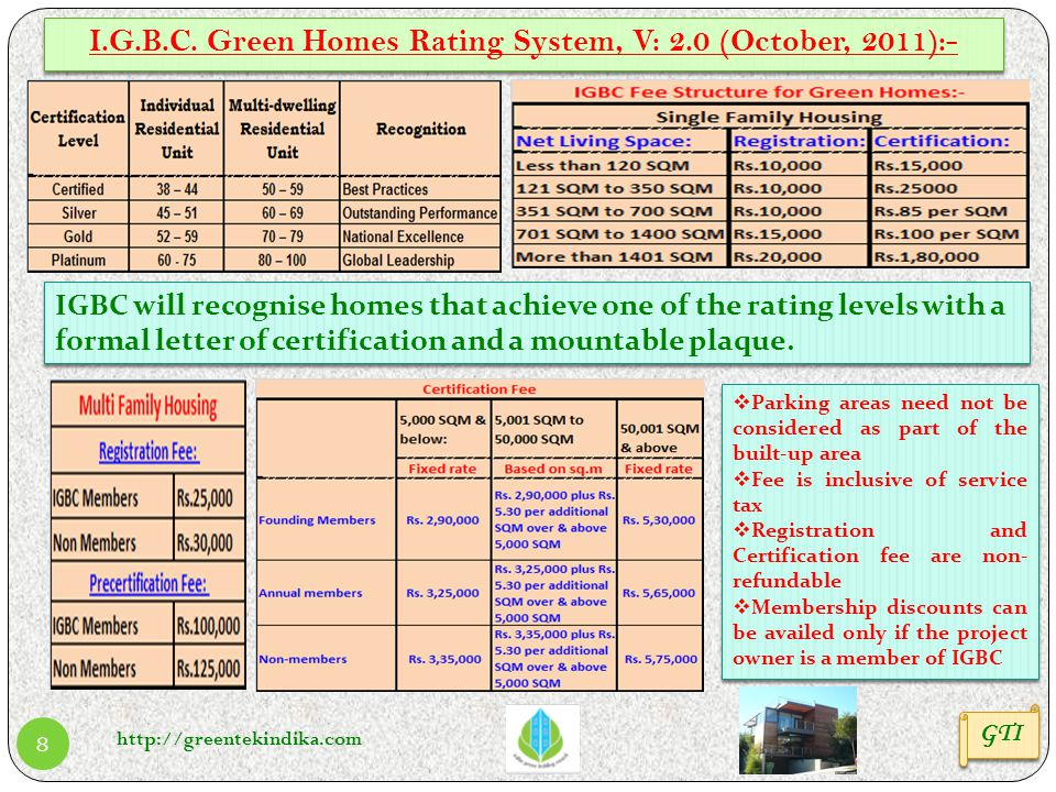 I.G.B.C. Green Homes Rating System, V: 2.0 (October, 2011):-