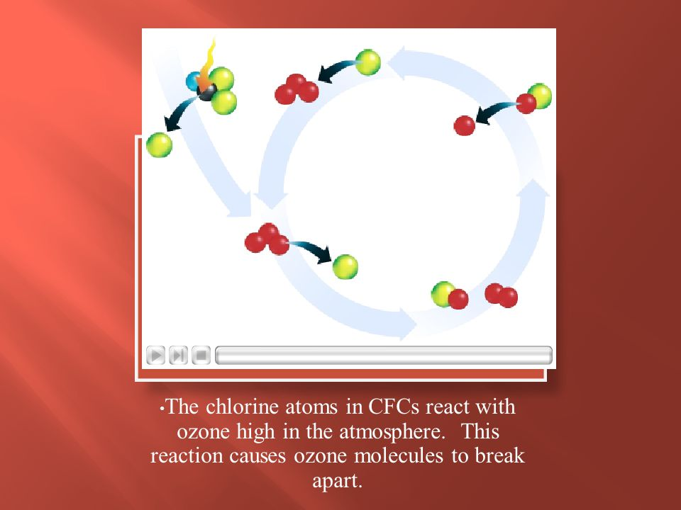 The chlorine atoms in CFCs react with ozone high in the atmosphere