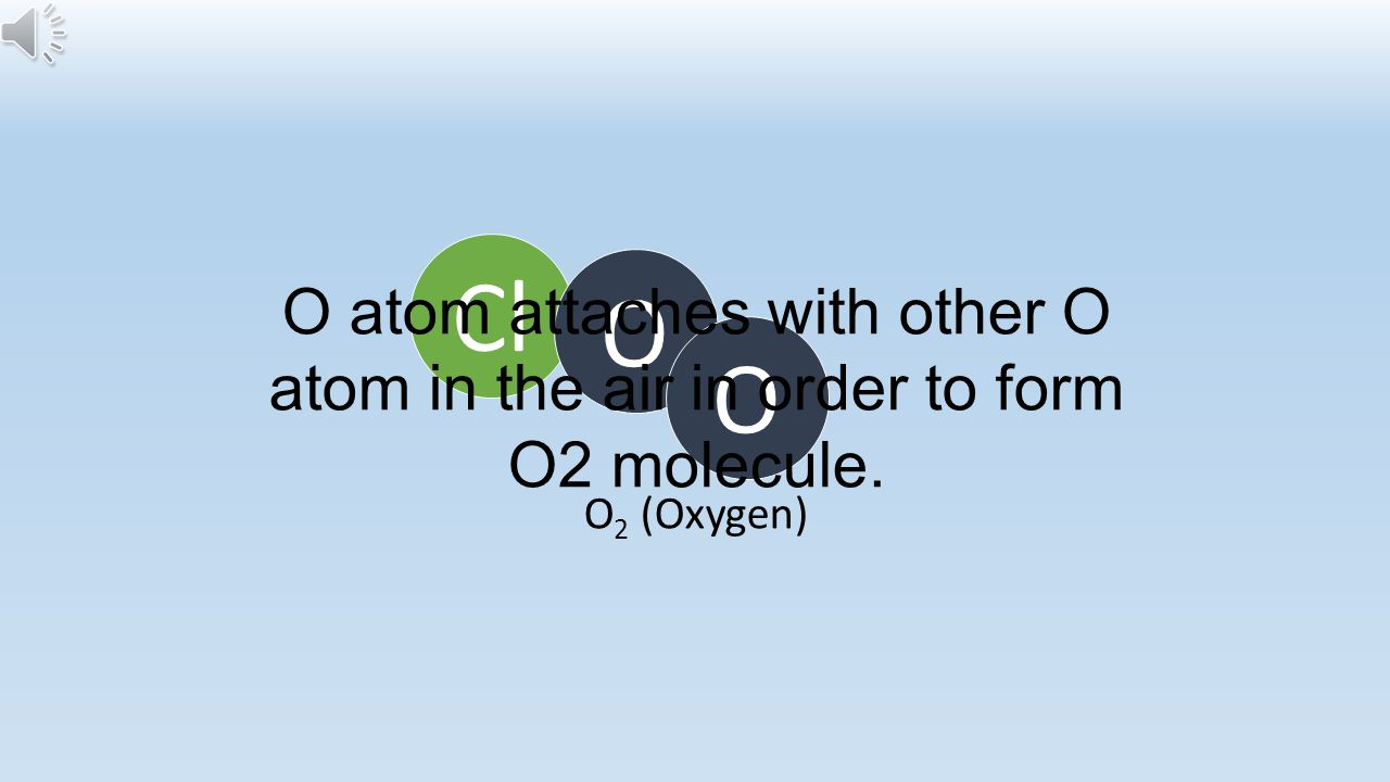 Cl O O atom attaches with other O atom in the air in order to form O2 molecule. O O2 (Oxygen)