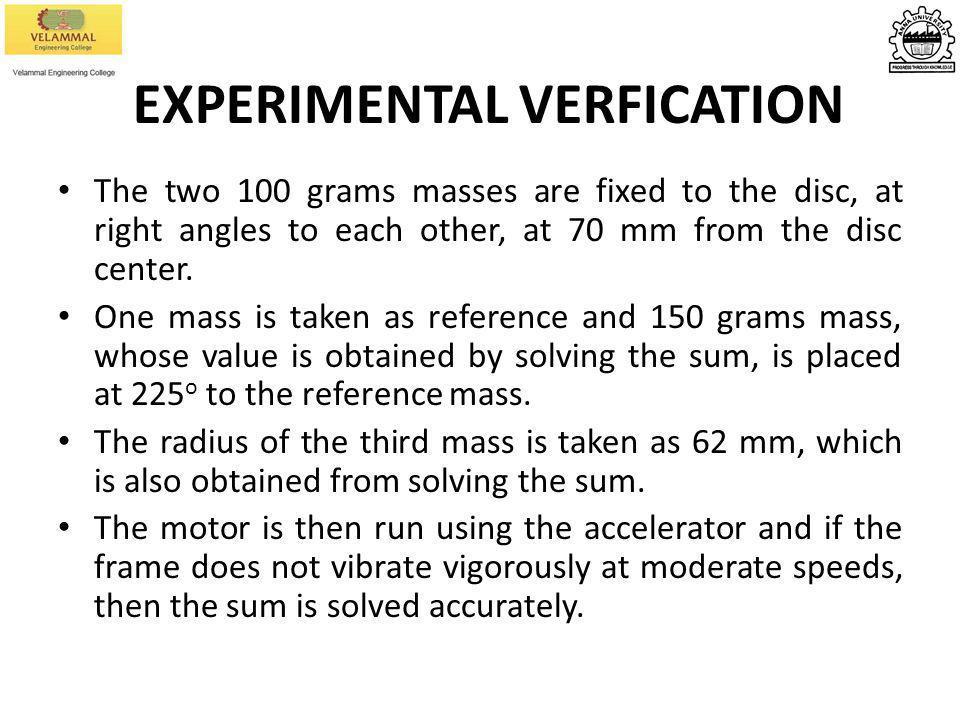 EXPERIMENTAL VERFICATION