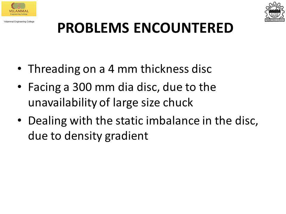 PROBLEMS ENCOUNTERED Threading on a 4 mm thickness disc