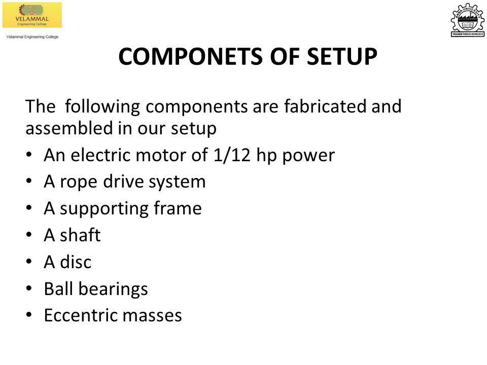 COMPONETS OF SETUP The following components are fabricated and assembled in our setup. An electric motor of 1/12 hp power.