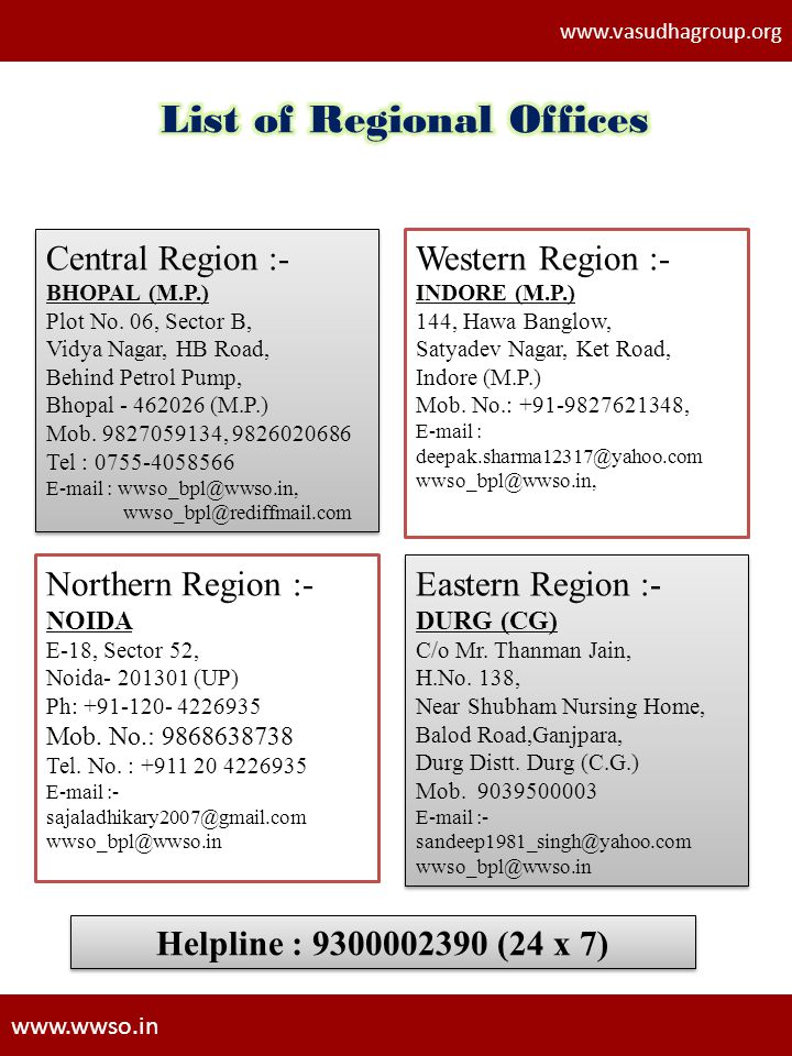List of Regional Offices