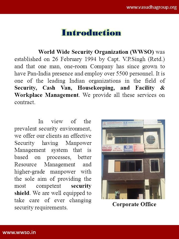 www.vasudhagroup.org Introduction.