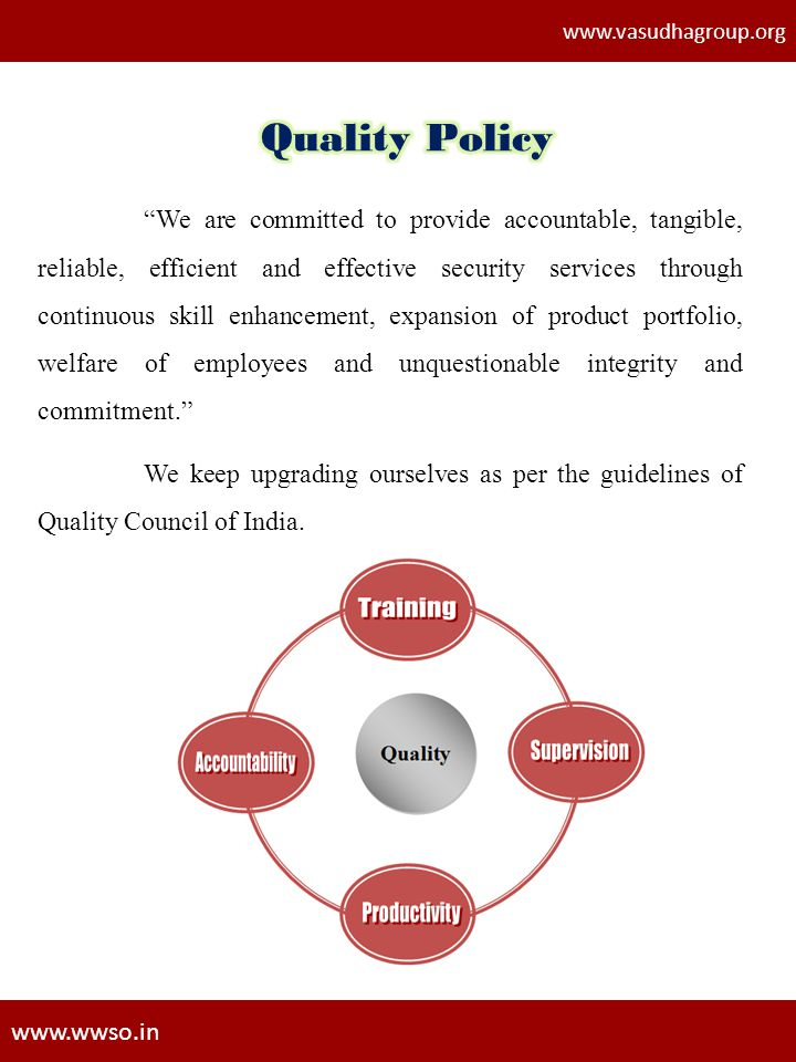 www.vasudhagroup.org Quality Policy.