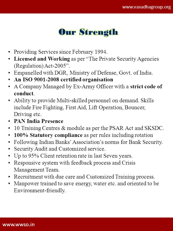 Our Strength Providing Services since February 1994.
