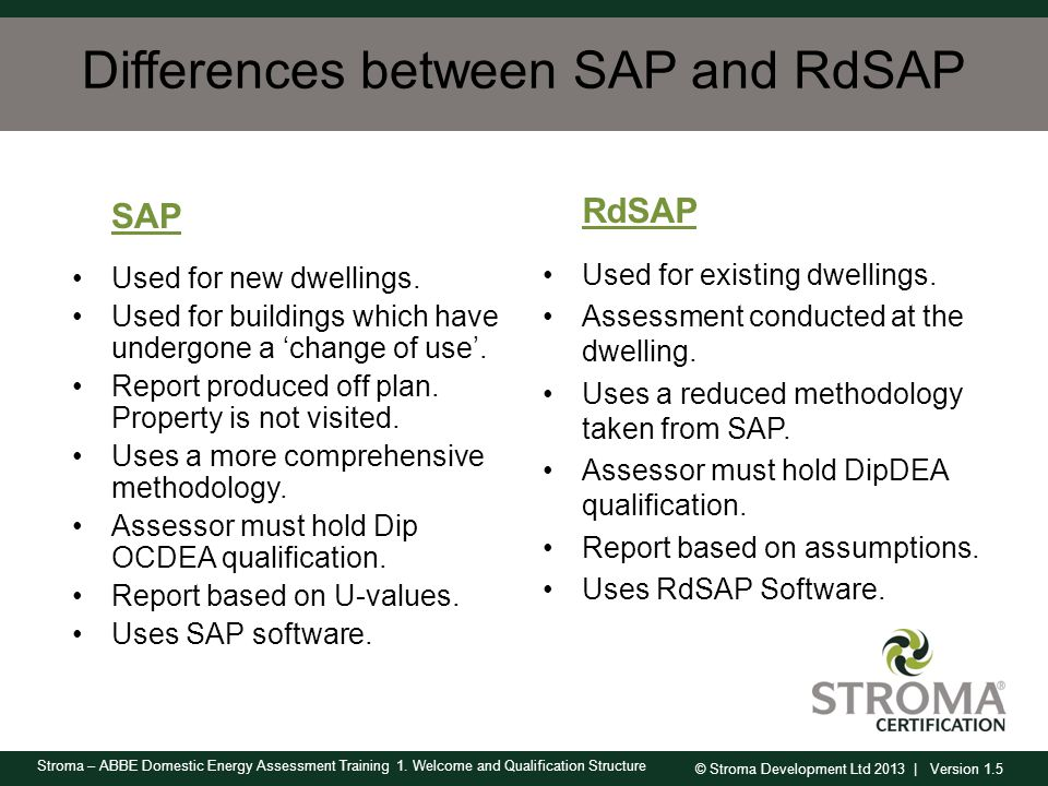 Differences between SAP and RdSAP