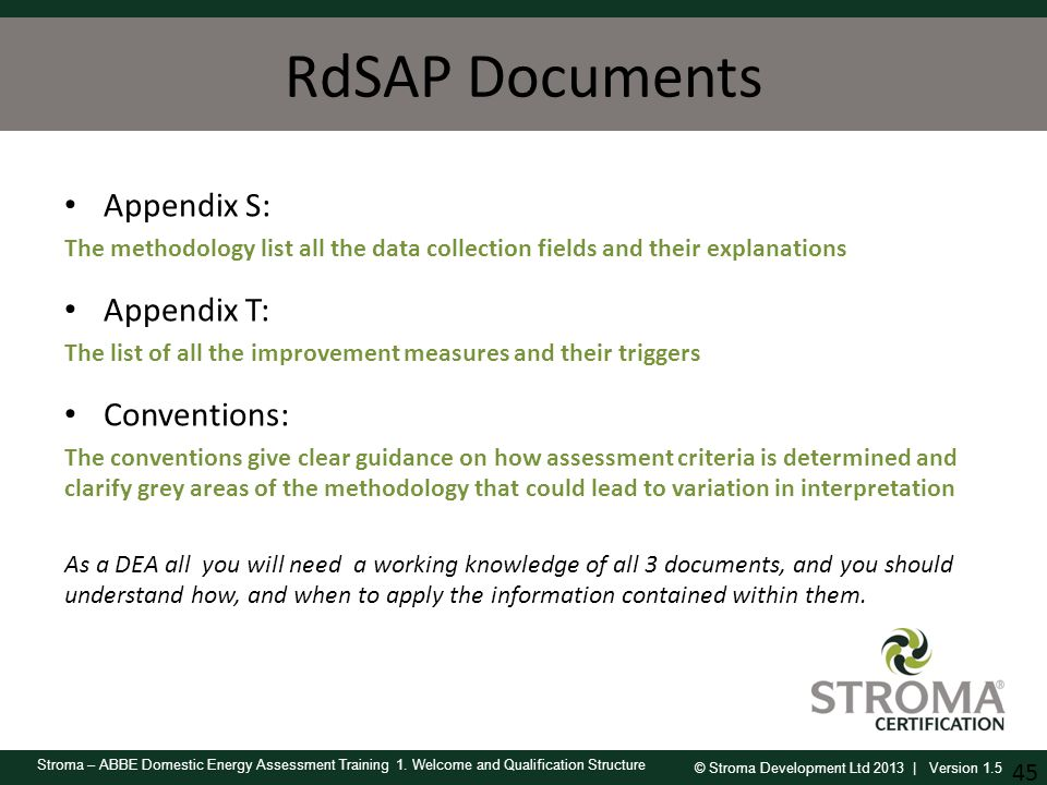 RdSAP Documents Appendix S: Appendix T: Conventions: