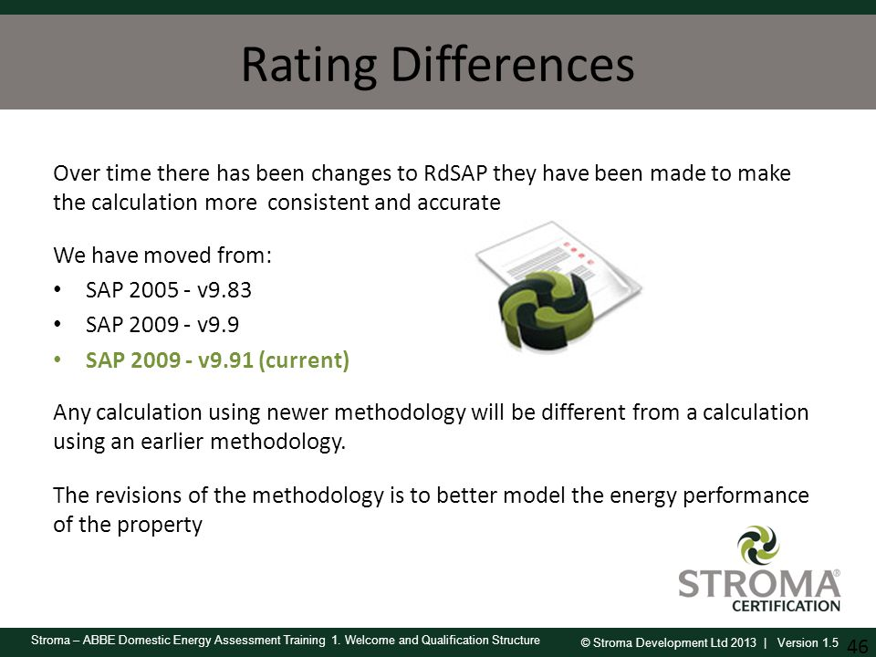 Rating Differences Over time there has been changes to RdSAP they have been made to make the calculation more consistent and accurate.