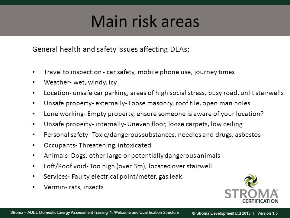 Main risk areas General health and safety issues affecting DEAs;