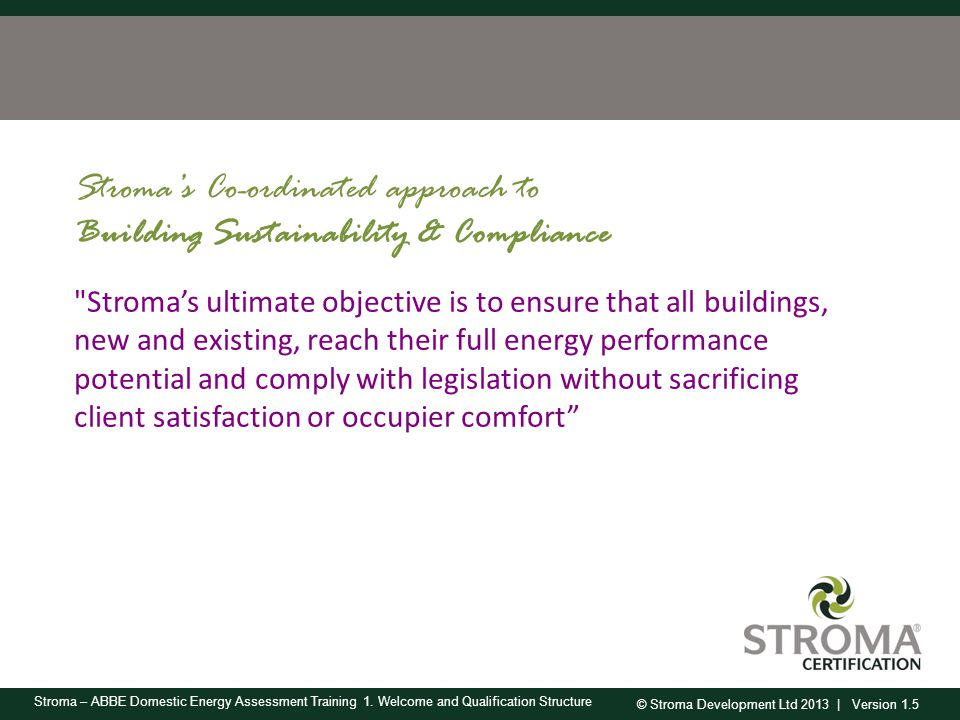 Stroma's Co-ordinated approach to Building Sustainability & Compliance