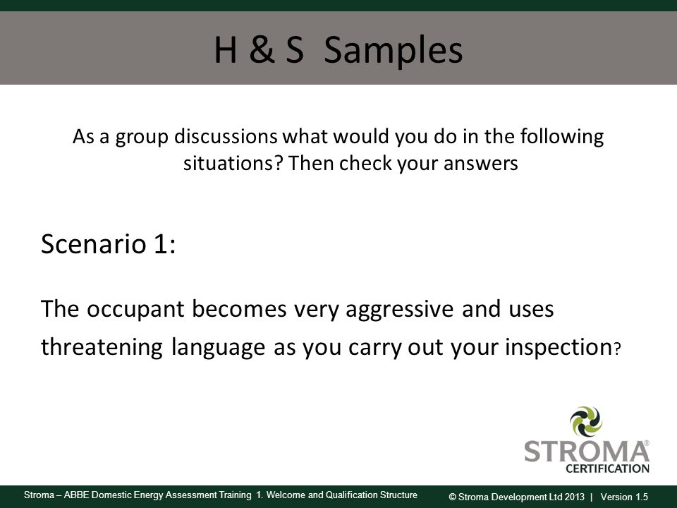 H & S Samples As a group discussions what would you do in the following situations Then check your answers.