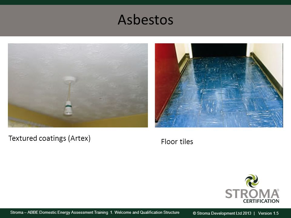 Asbestos Textured coatings (Artex) Floor tiles