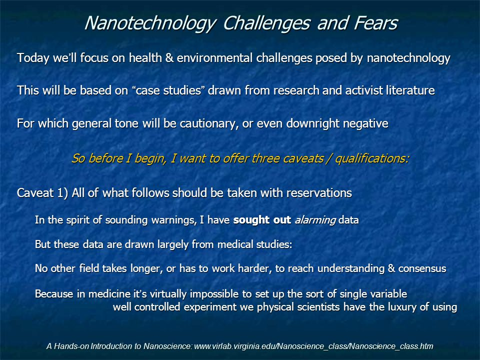 Nanotechnology Challenges and Fears