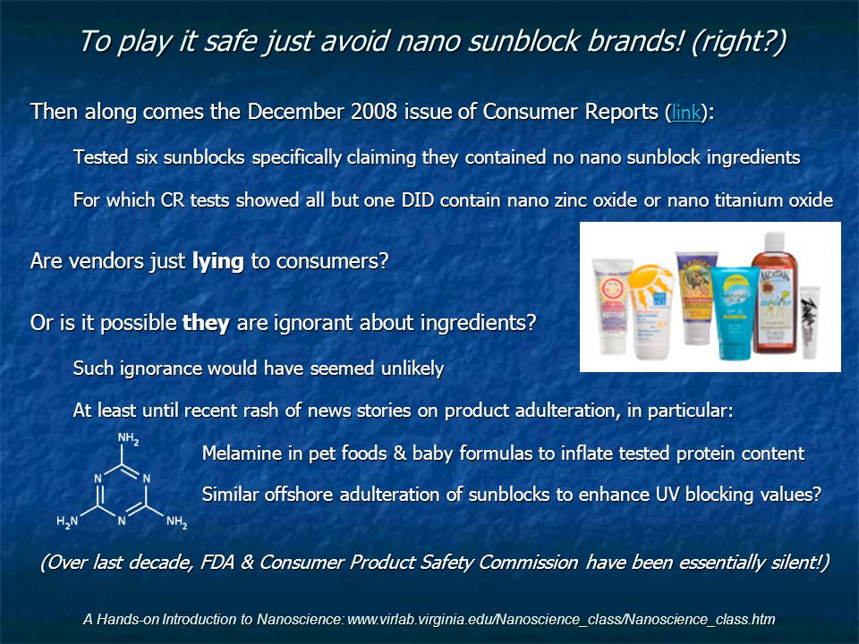 To play it safe just avoid nano sunblock brands! (right )