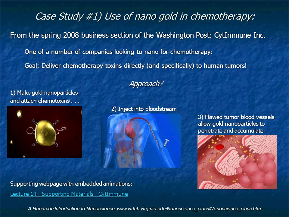 Case Study #1) Use of nano gold in chemotherapy: