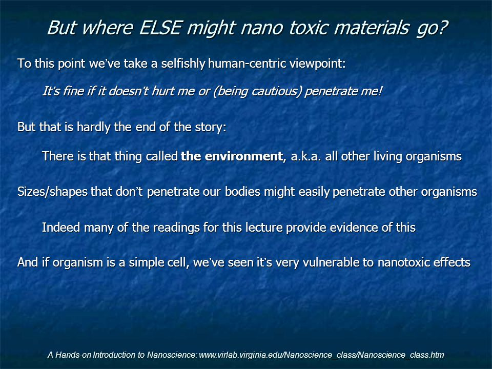 But where ELSE might nano toxic materials go
