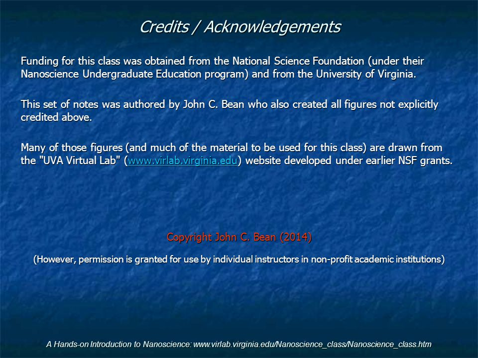 Credits / Acknowledgements
