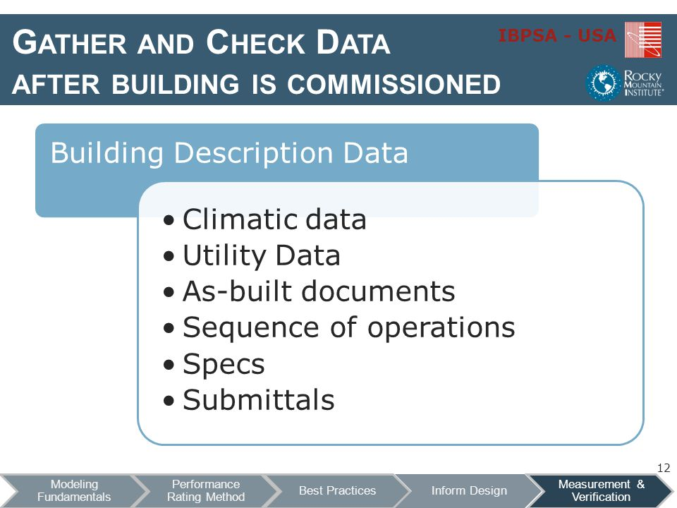 Gather and Check Data after building is commissioned