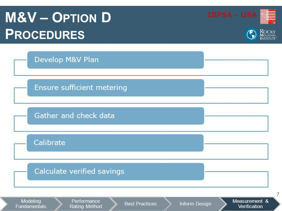 M&V – Option D Procedures