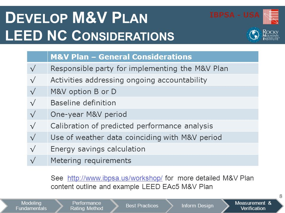 Develop M&V Plan LEED NC Considerations