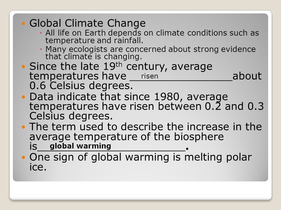 One sign of global warming is melting polar ice.