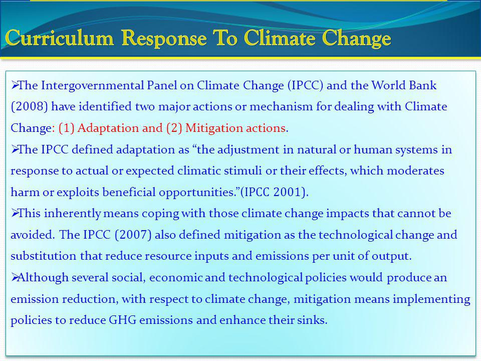 Curriculum Response To Climate Change