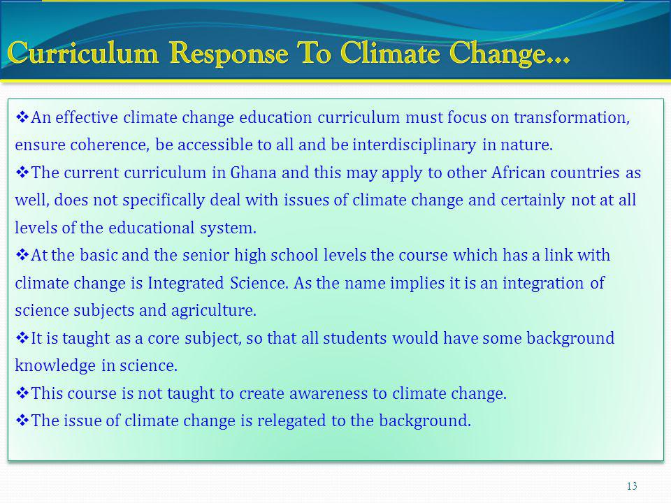 Curriculum Response To Climate Change…