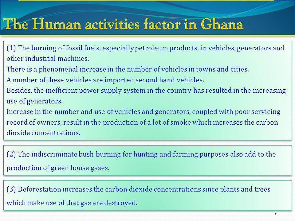 The Human activities factor in Ghana