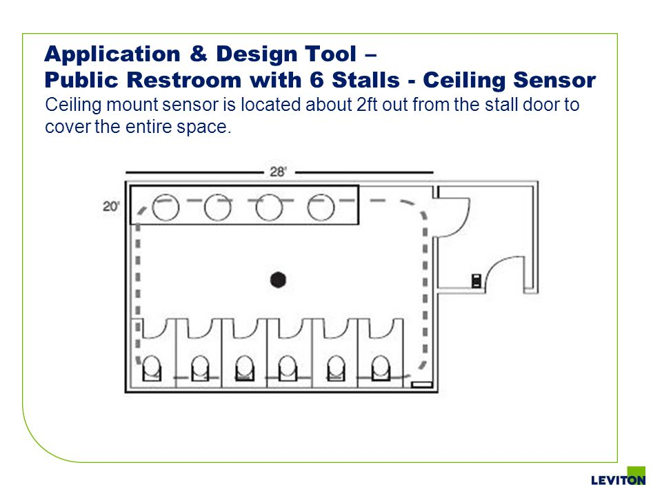 Application & Design Tool – Public Restroom with 6 Stalls - Ceiling Sensor