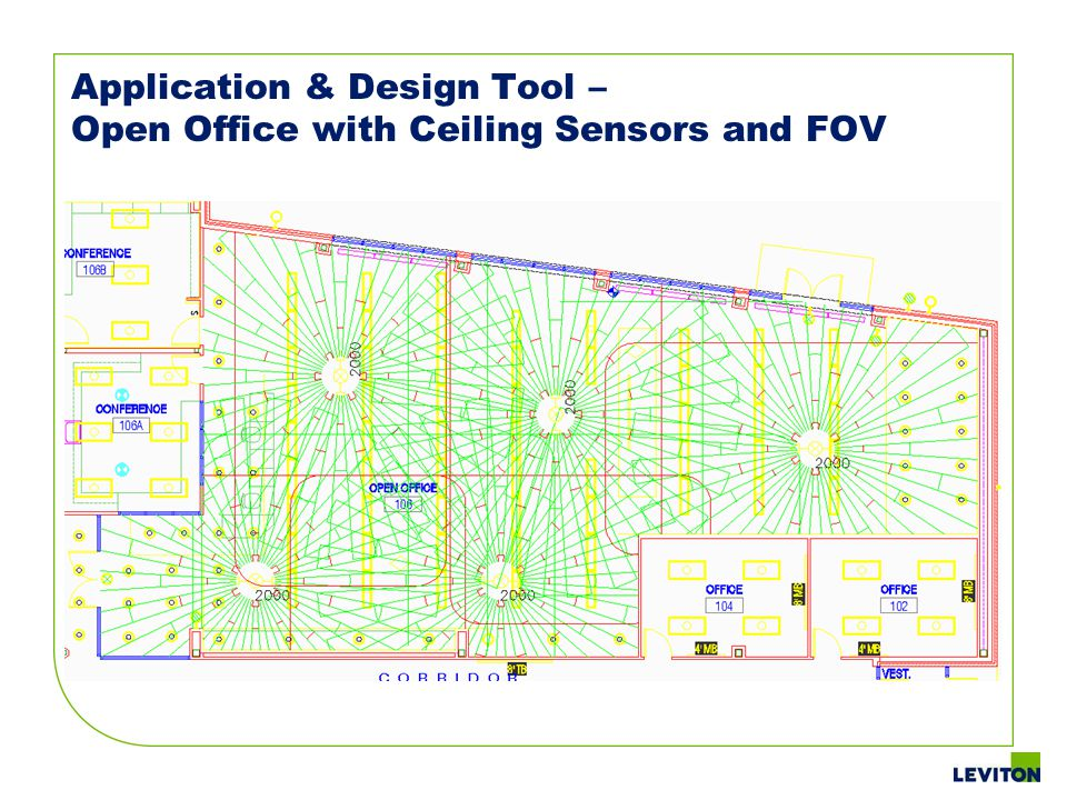 Application & Design Tool – Open Office with Ceiling Sensors and FOV
