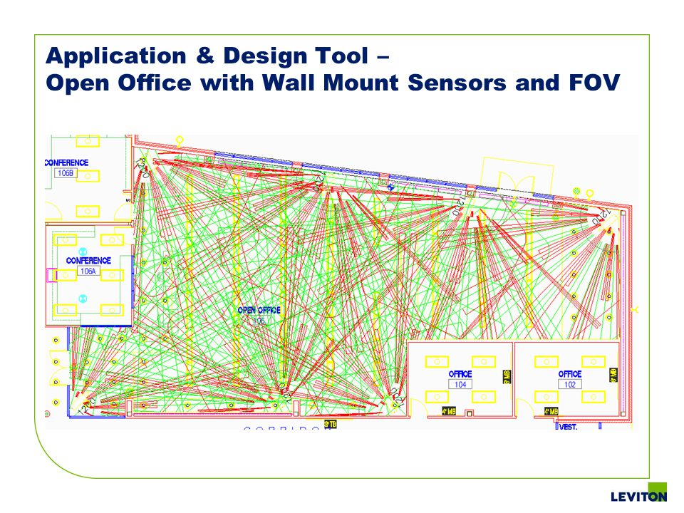 Application & Design Tool – Open Office with Wall Mount Sensors and FOV