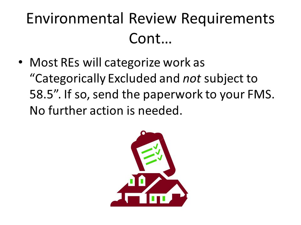 Environmental Review Requirements Cont…
