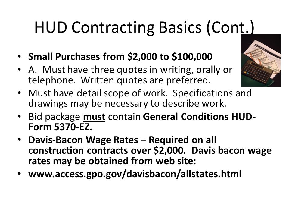 HUD Contracting Basics (Cont.)
