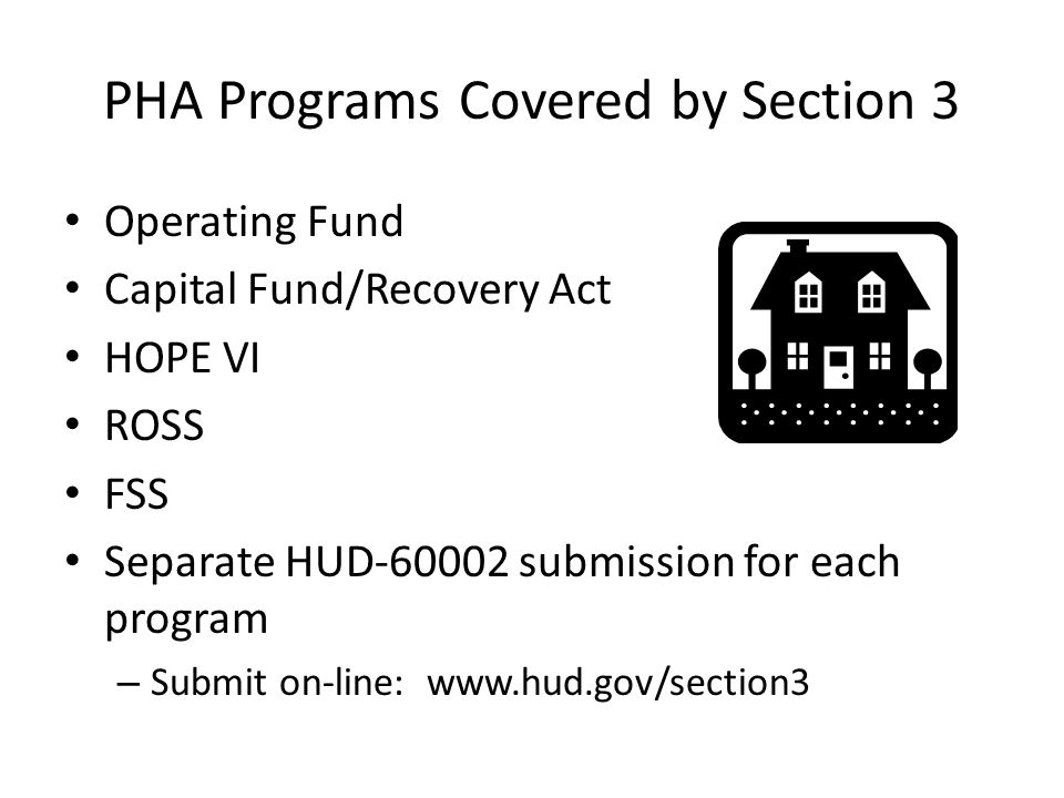 PHA Programs Covered by Section 3