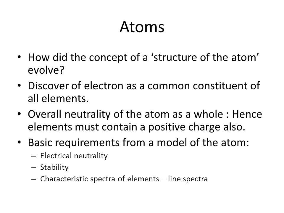 Atoms How did the concept of a 'structure of the atom' evolve