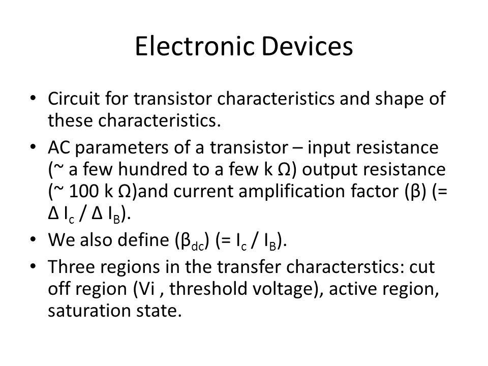 Electronic Devices Circuit for transistor characteristics and shape of these characteristics.