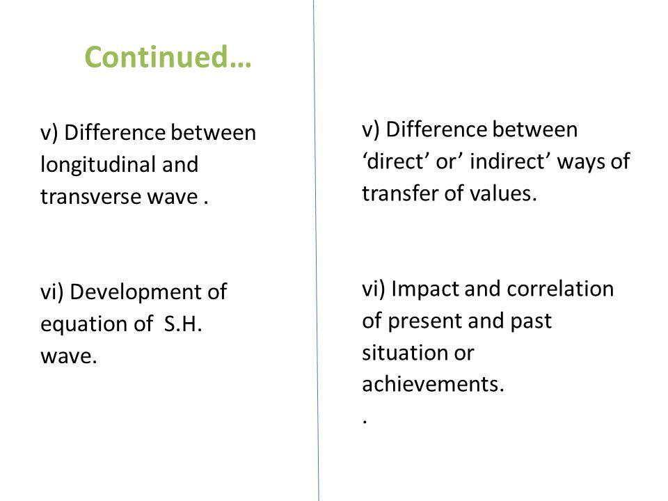 Continued… v) Difference between longitudinal and transverse wave . vi) Development of equation of S.H. wave.