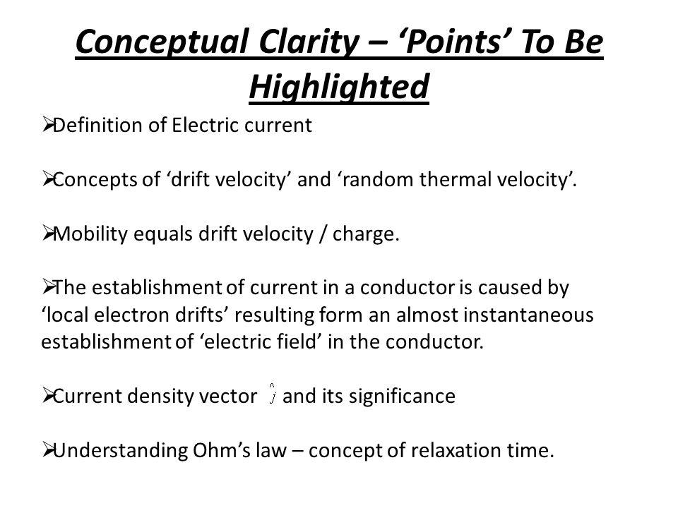 Conceptual Clarity – 'Points' To Be Highlighted