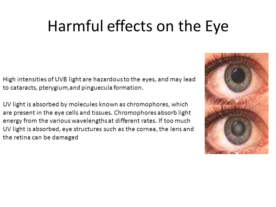 Harmful effects on the Eye