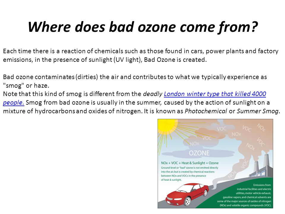 Where does bad ozone come from