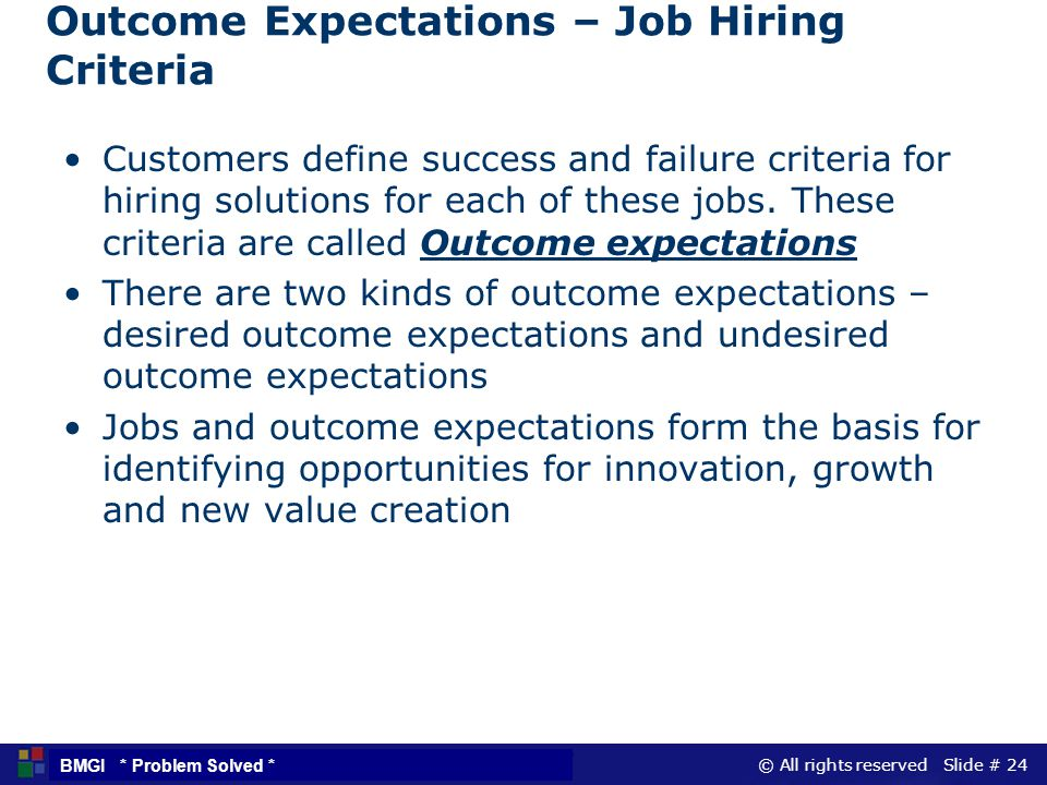 Outcome Expectations – Job Hiring Criteria