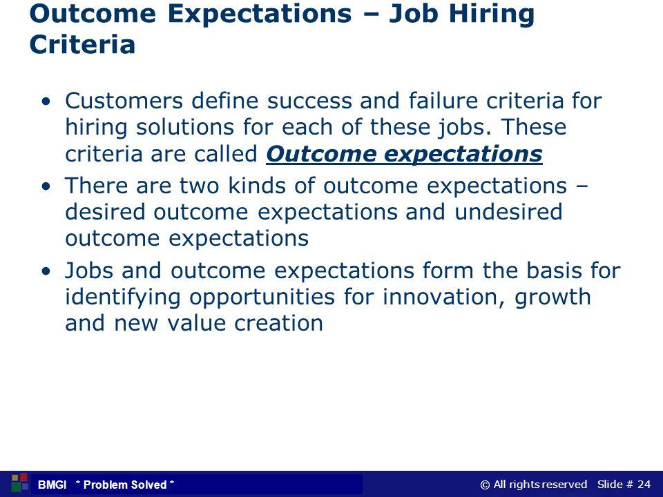Outcome Expectations – Job Hiring Criteria