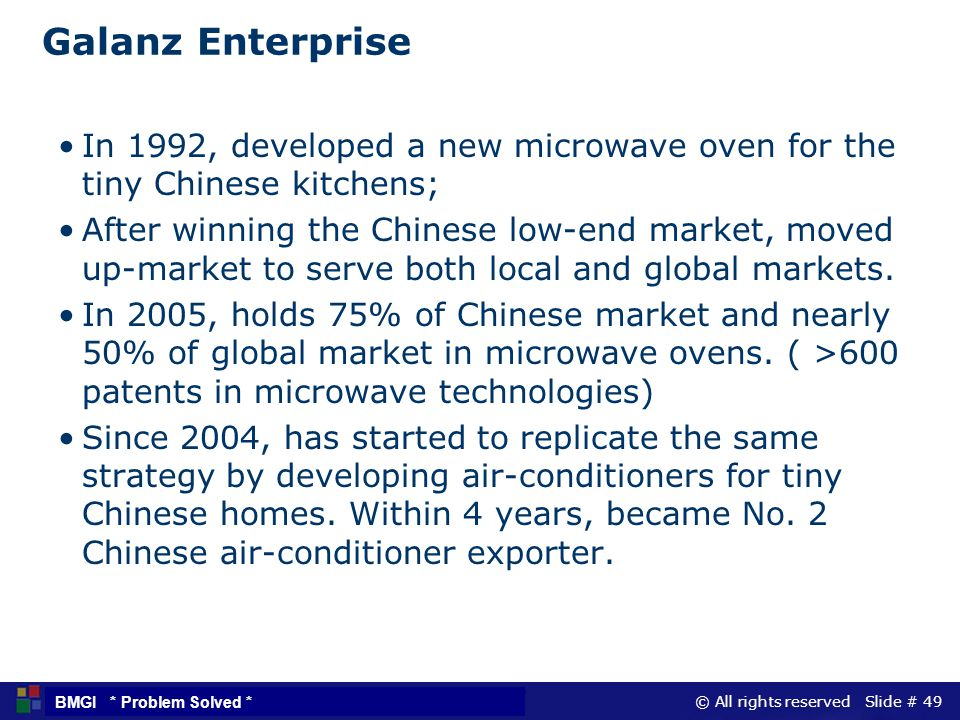 Galanz Enterprise In 1992, developed a new microwave oven for the tiny Chinese kitchens;