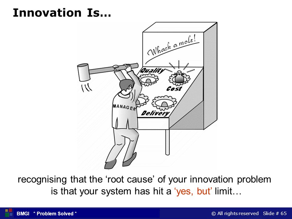 Innovation Is… recognising that the 'root cause' of your innovation problem.