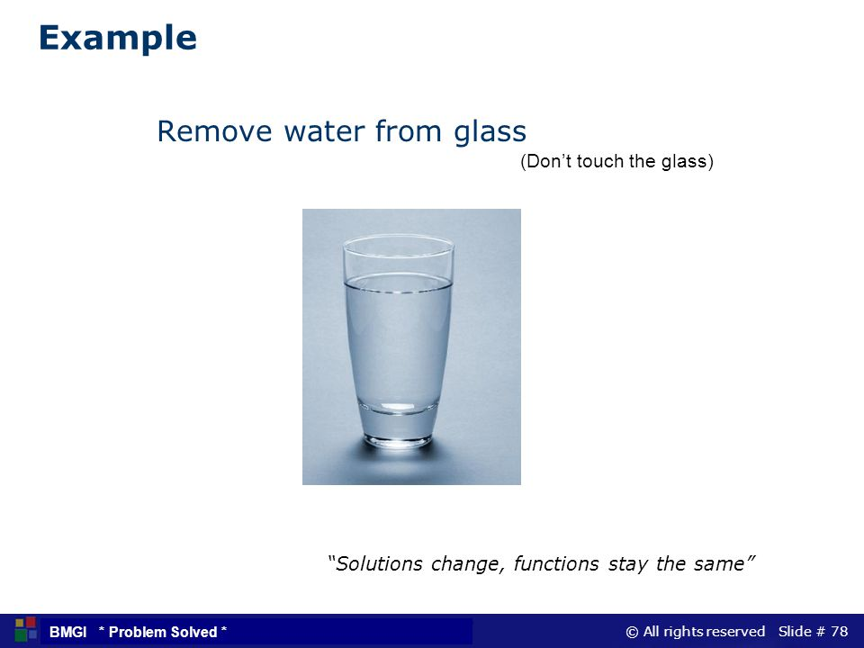 Example Remove water from glass (Don't touch the glass)