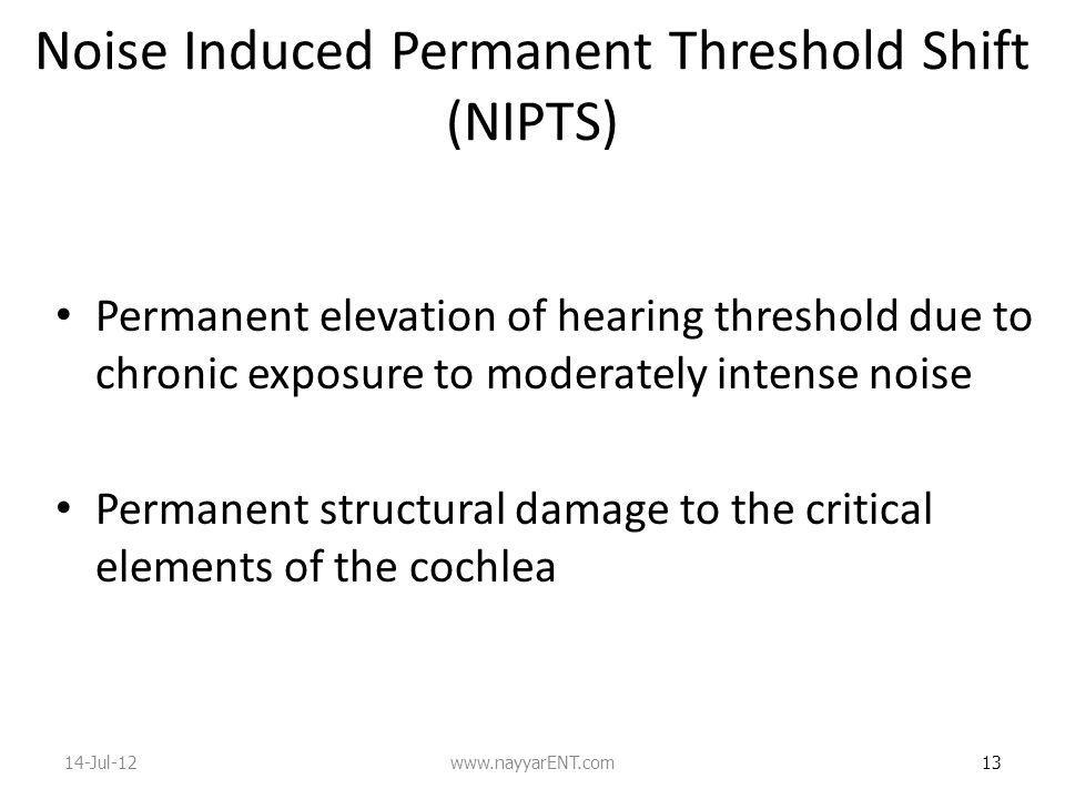 Noise Induced Permanent Threshold Shift (NIPTS)